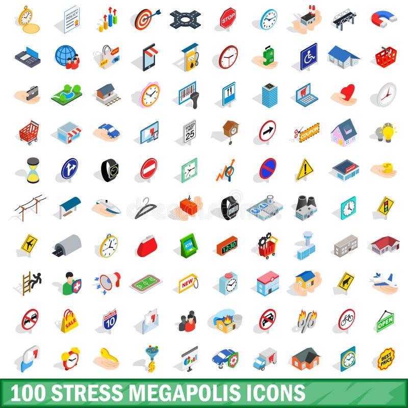 100 stresów megapolis ikon ustawiających, isometric 3d styl royalty ilustracja