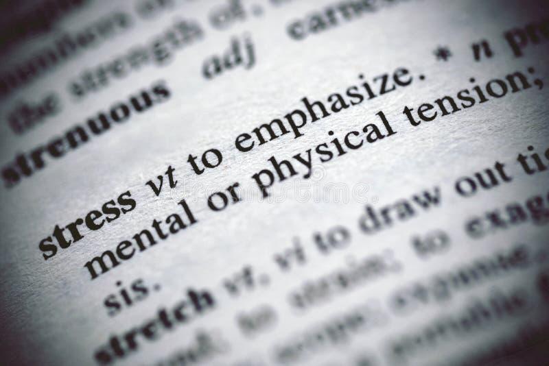 Stres definicja w słowniku zdjęcia stock