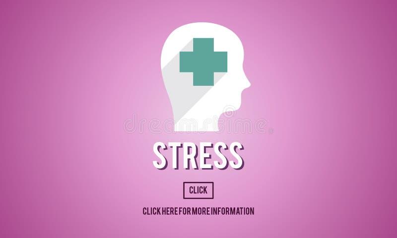 Stres depresji niepokoju frustraci Wyrażeniowy pojęcie ilustracja wektor