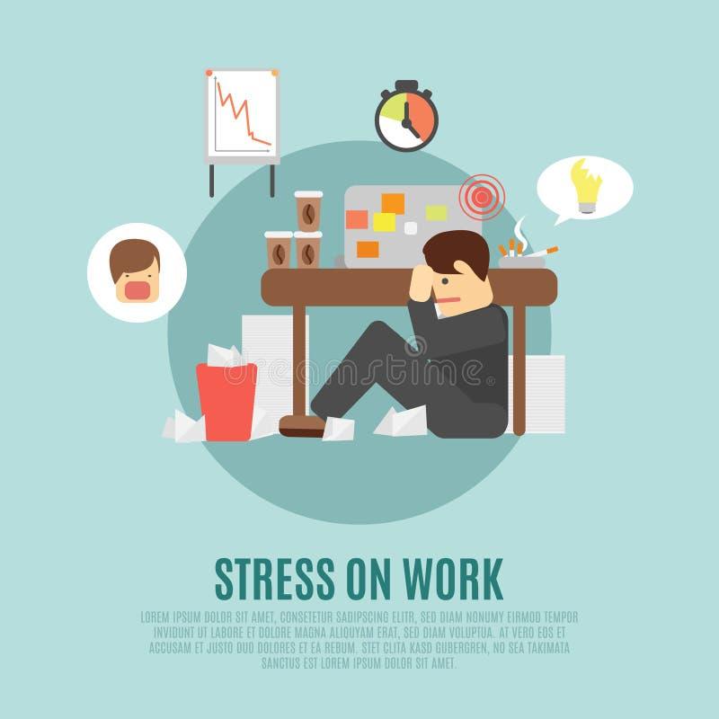 Stres na pracy mieszkania ikonie royalty ilustracja