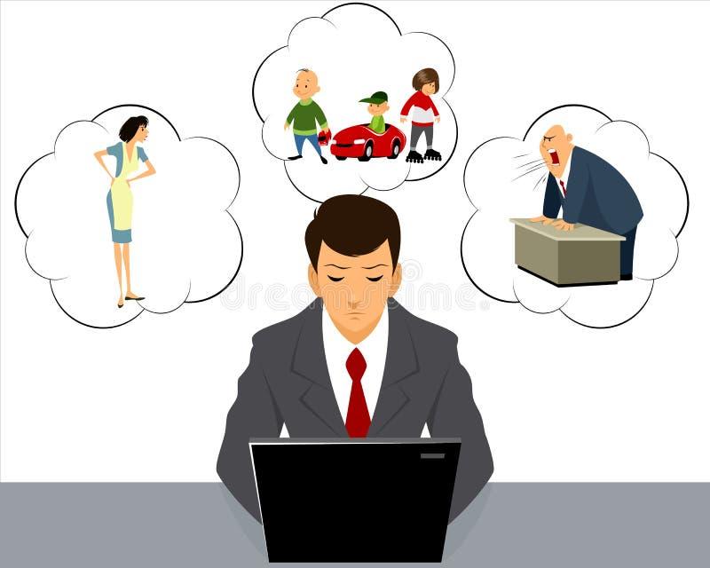 Stres przy pracą royalty ilustracja