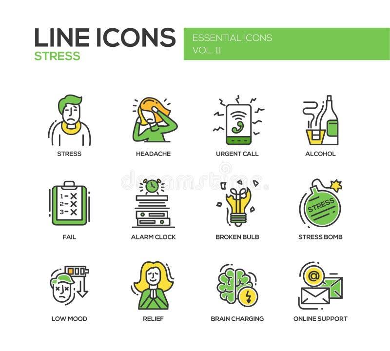 Stres przy pracą - kreskowe projekt ikony ustawiać ilustracji