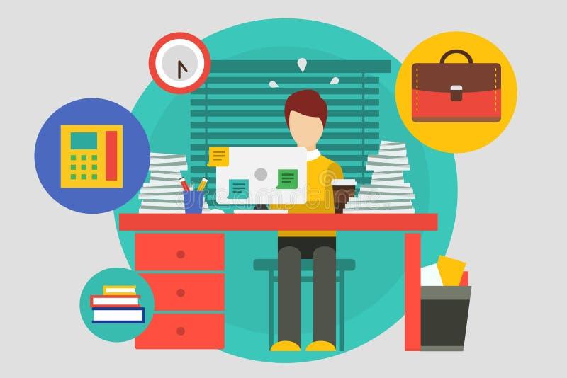 Stres w biurowej ilustraci Ciężka praca i ilustracja wektor
