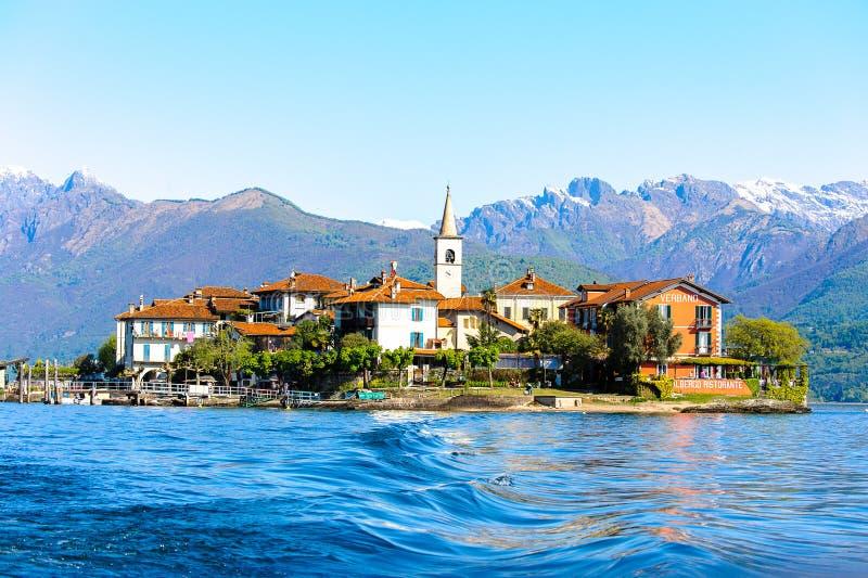 Lago Maggiore, Italy. STRESA, ITALY - MAY 3, 2016: Isola Pescatori (Fishermen Island) on the Lago Maggiore (Big Lake), Piedmont, Italy. Lago Maggiore is the stock photography