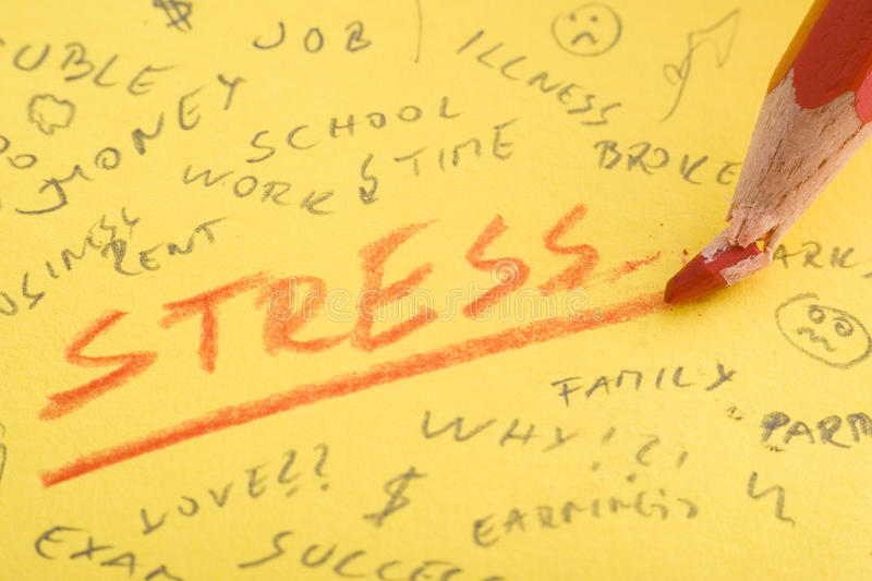 Stress. Word stress written with red color pencil that broke stock photo