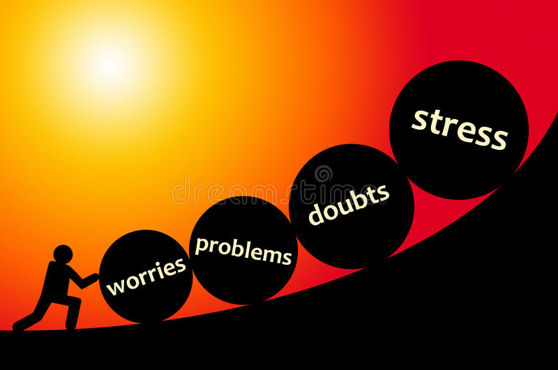 Stress. Having all kind of problems, like stress and doubts royalty free illustration