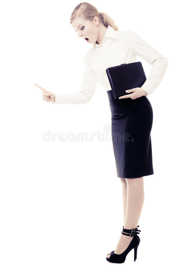 Stress. Angry business woman teacher shaking finger royalty free stock images