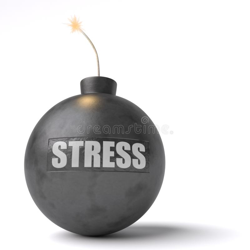 Stress Bomb. A bomb with the word stress engraved on it ready to explode isolated against a white background royalty free illustration
