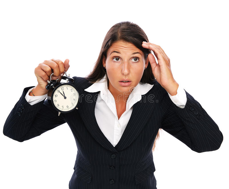Stress - business woman is late stock photos