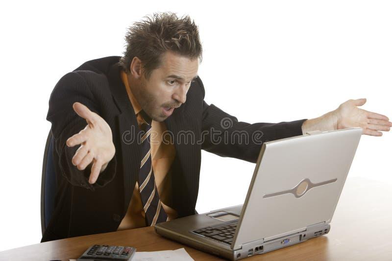 Stress of businessman because of computer crash stock photography