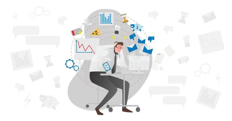 Stress causes vector illustration. Busy men in office with document pile and computer stressing about low battery and deadlines. vector illustration