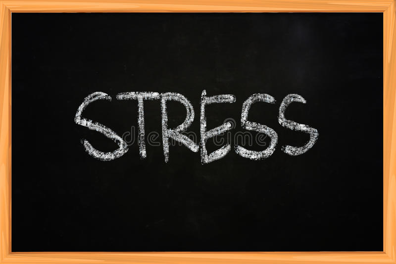 Stress Chalk Writing on Blackboard. Stress word, illustration of chalk writing on blackboard royalty free stock photo