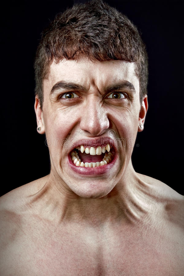 Stress concept - angry furious mad man. Stress concept - angry furious one mad man royalty free stock photo