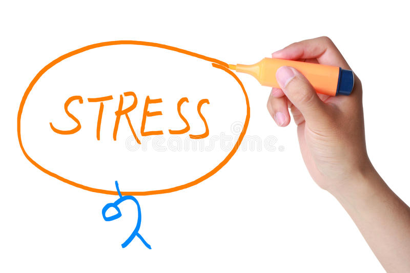 Stress. Concept drawn by hand marker isolated on white stock photography
