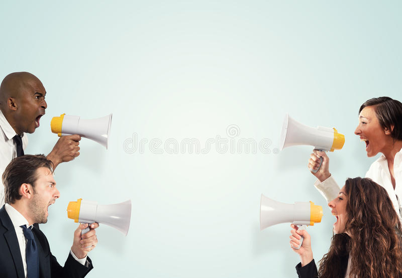 Stress concept with screaming businesspeople. men versus women stock photography