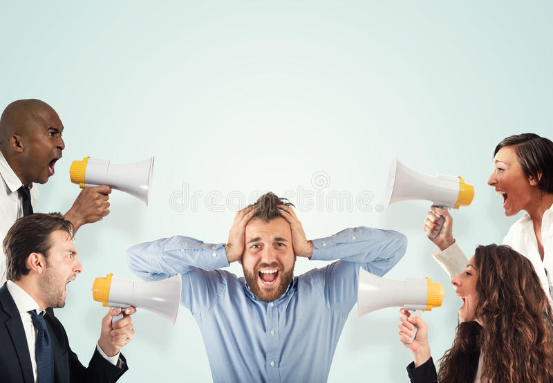Stress concept with screaming colleagues stock image