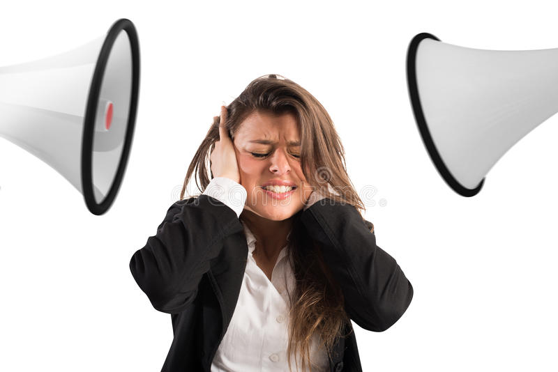 Stress concept with screaming colleagues royalty free stock images
