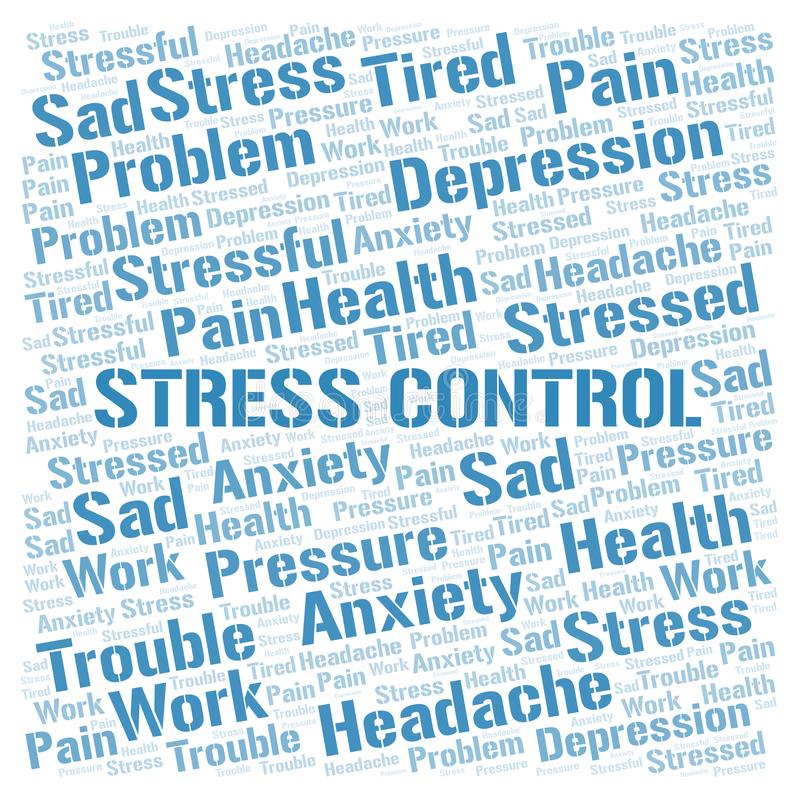 Stress Control word cloud. Wordcloud made with text only royalty free stock image