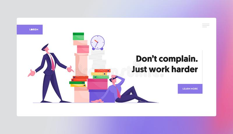 Stress Deadline Situation Website Landing Page. Angry Boss Looking on Huge Stack of Unfinished Paper Documents. Employee Sitting with Much Paperwork Web Page vector illustration