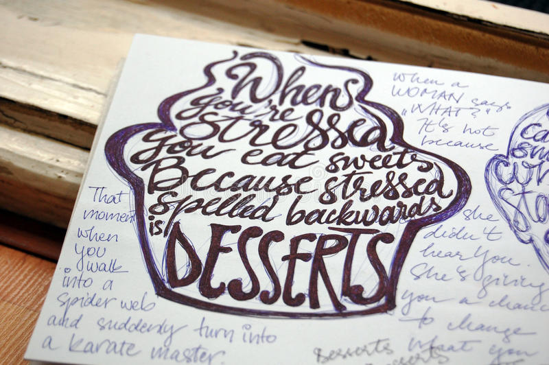 Stress and Desserts calligraphic background. For your design stock image