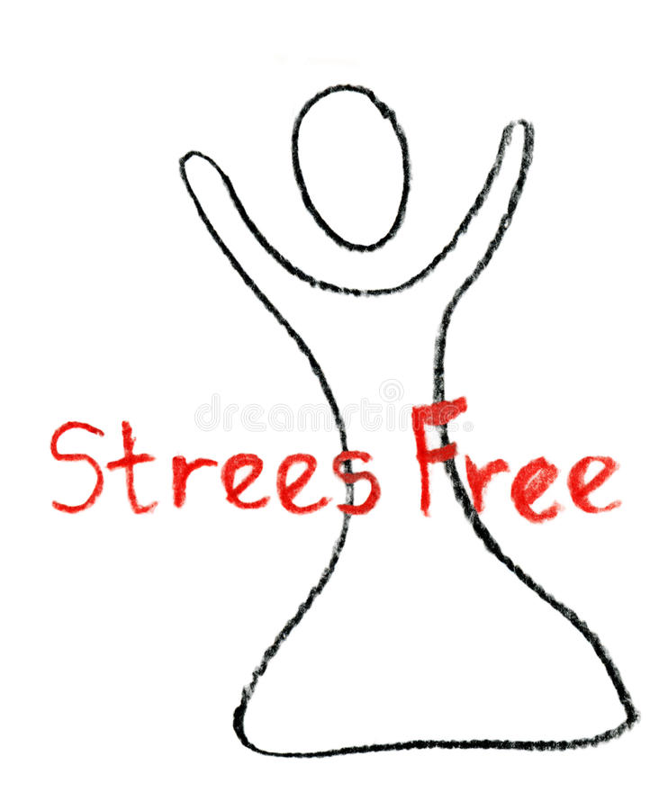 Stress Free drawn with a crayon. royalty free illustration