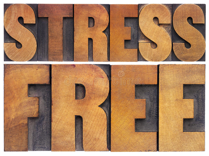 Stress free in wood type stock photo