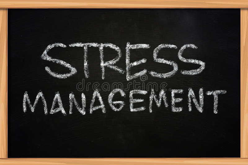Stress Management Chalk Writing on Blackboard. Stress Management illustration of chalk writing on blackboard royalty free stock photos