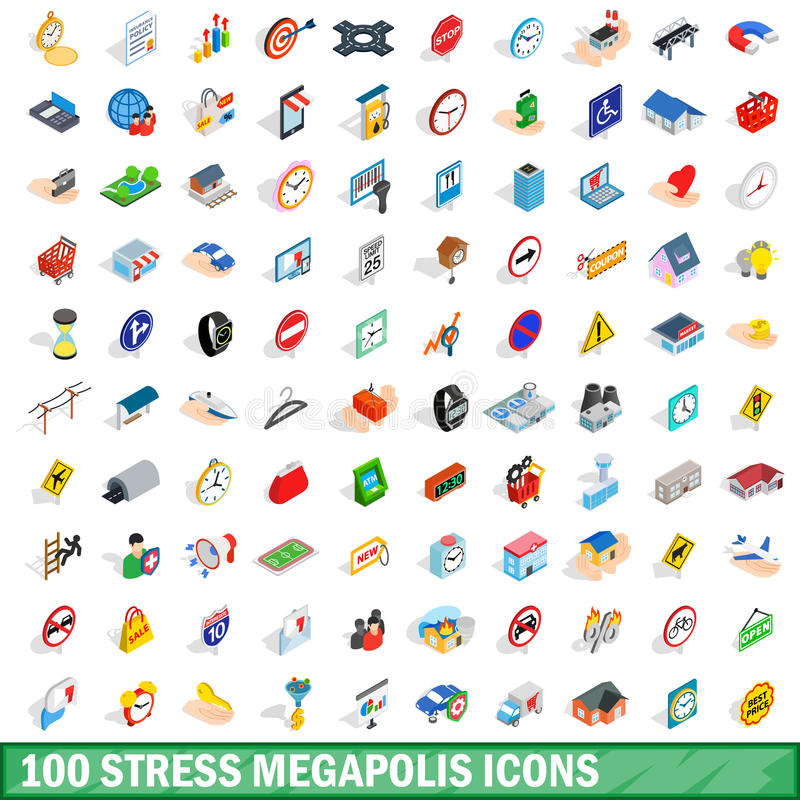 100 stress megapolis icons set, isometric 3d style royalty free illustration