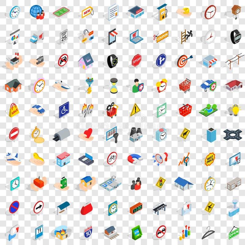 100 stress megapolis icons set, isometric 3d style. 100 stress megapolis icons set in isometric 3d style for any design vector illustration royalty free illustration