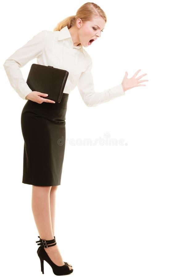 stress Mulher irritada do professor da mulher de negócios que grita foto de stock royalty free