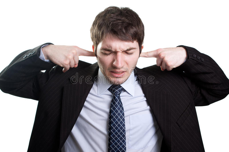 Stress and noise concept. Isolated businessman expressing stress and noise concept stock image