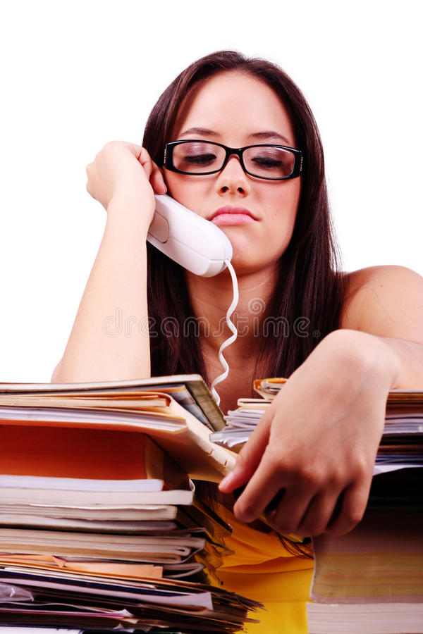 Stress in the office. Young woman with problems and stress in the office stock photography