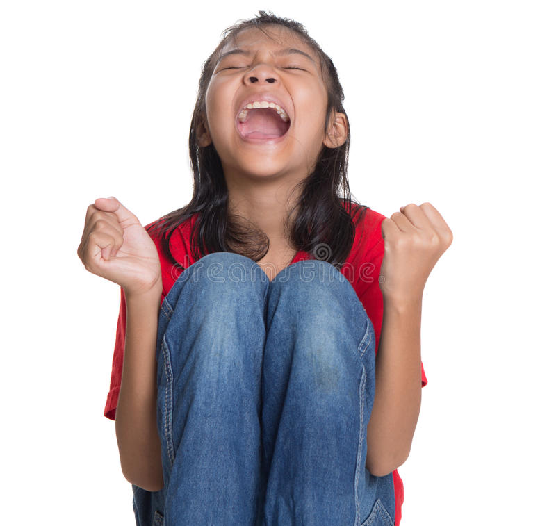 Stress Out Young Asian Girl VI royalty free stock image