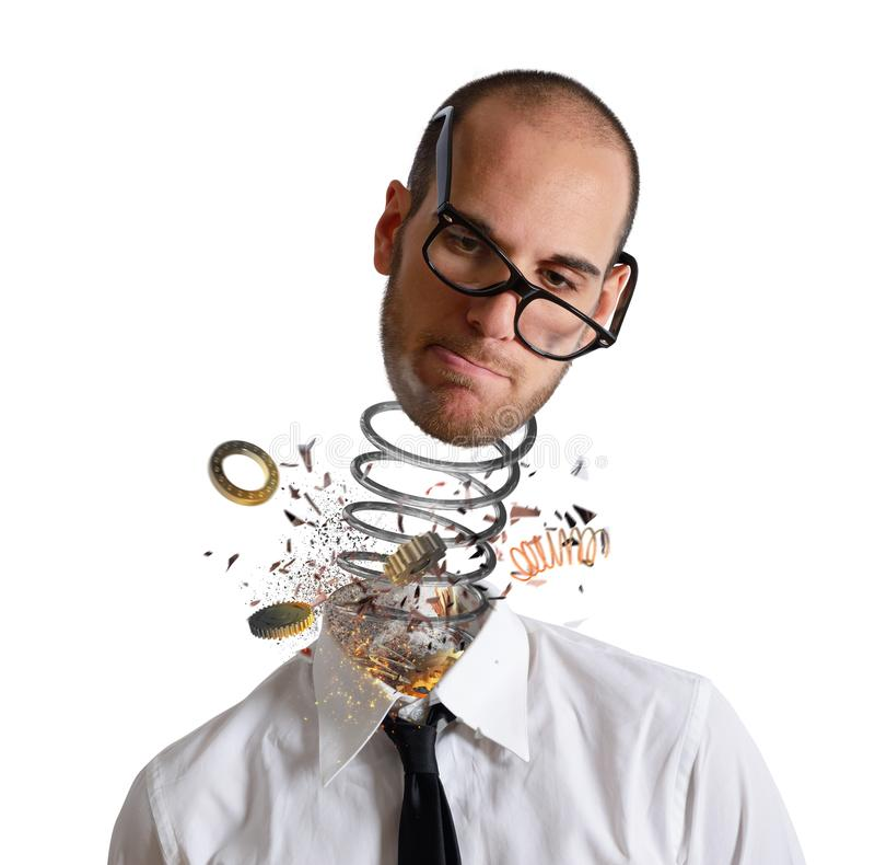 Stress and overwork concept. Explosion of a head of a businessman. Stress and overwork concept. Explosion of a head of a tired businessman royalty free stock photography
