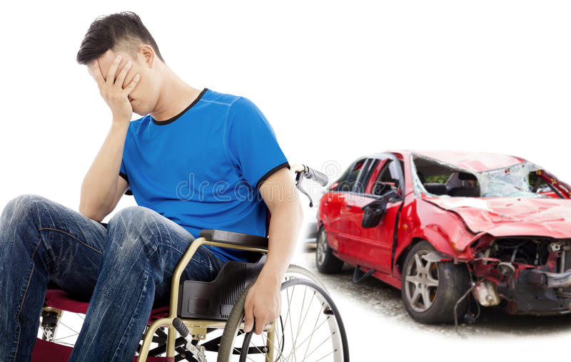 Stress patient with car accident concept. Stress and Disabled patient with car accident concept royalty free stock images