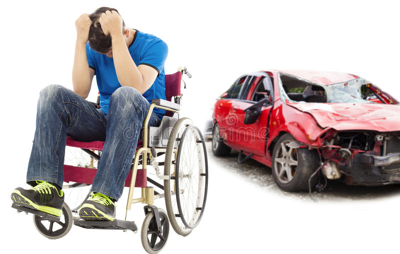 Stress patient with car accident concept. Stress and Disabled patient with car accident concept stock images