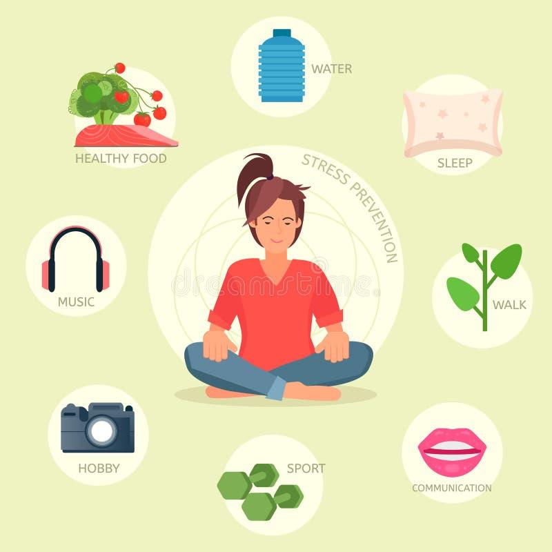 Stress prevention vector infographic stock illustration