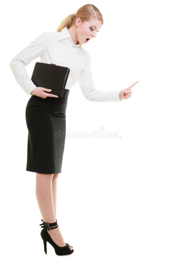 stress Professor irritado da mulher de negócio que agita o dedo imagens de stock royalty free