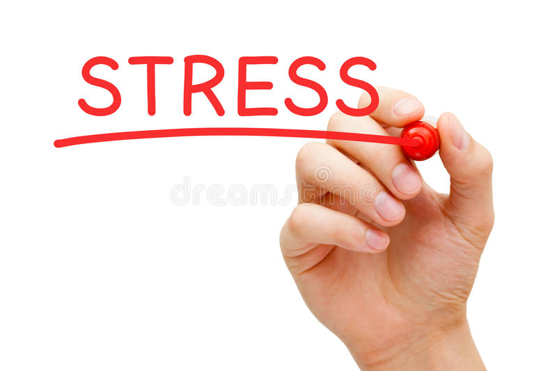 Stress Red Marker. Hand writing Stress with marker on transparent wipe board royalty free stock photo