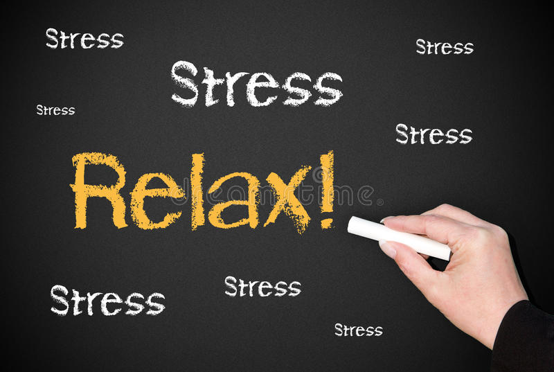 Stress Relax blackboard. Blackboard or chalkboard with a hand writing the words Stress and Relax stock image