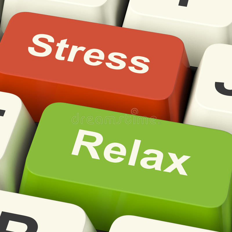 Stress Relax Computer Keys Showing Pressure Of Work Or Relaxation Online stock photos