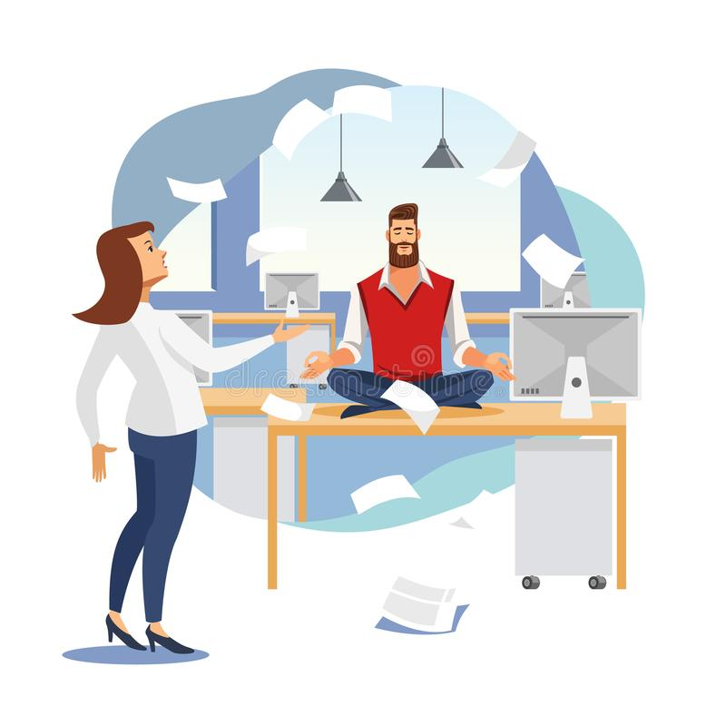 Stress Relief in Office Work Flat Vector Concept. Keeping Calm and Balance in Work Flat Vector Concept with Businessman or Company Employee Meditating on Work stock illustration