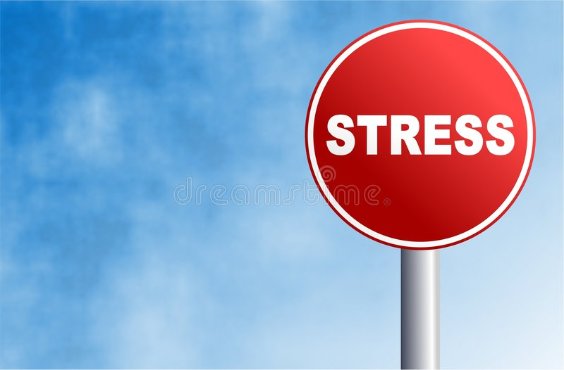 Stress sign. Round concept street sign with the word STRESS written across it vector illustration