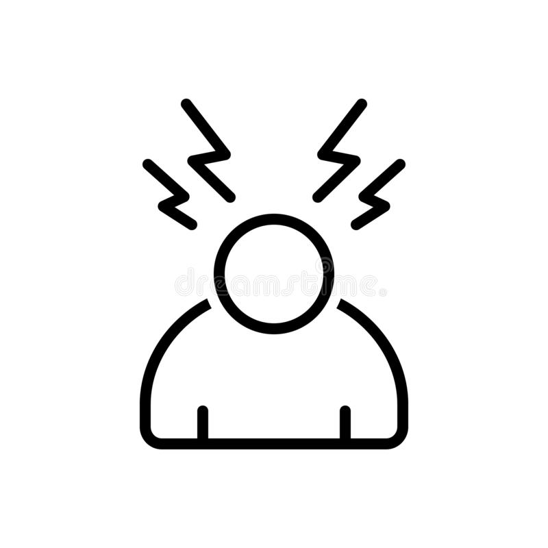 Black line icon for Stress, worried and pressure royalty free illustration