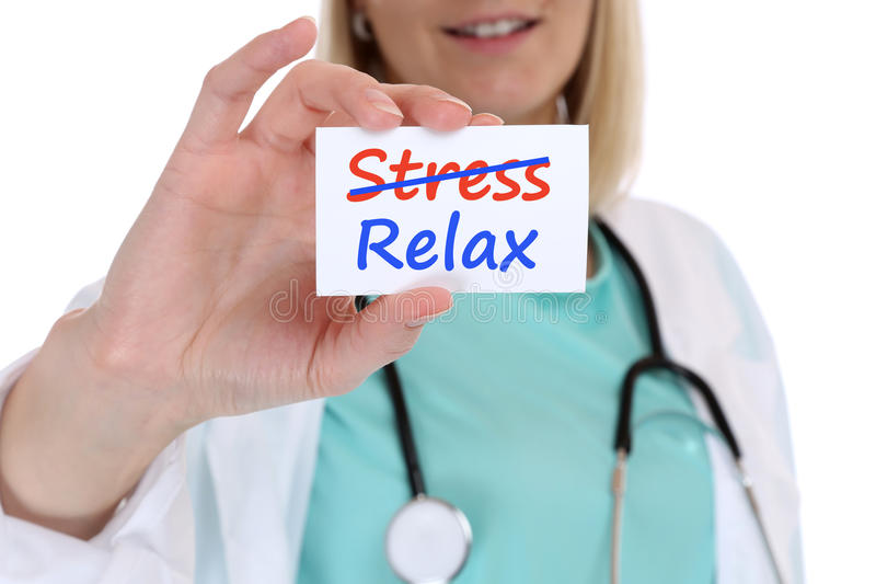 Stress stressed relax relaxed burnout ill illness healthy doctor stock image