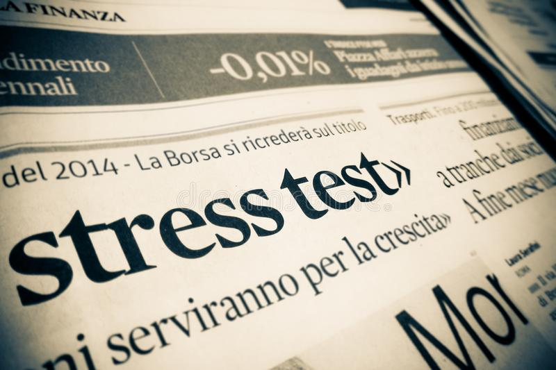 Stress test by an Italian financial newspaper stock photography