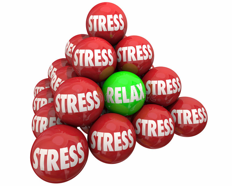 Stress Vs Relax Ball Pyramid Burdens Relief royalty free illustration