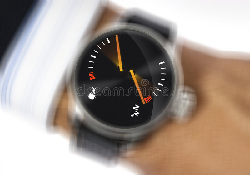 Stress watch. Wrist watch to measure the stress stock photography