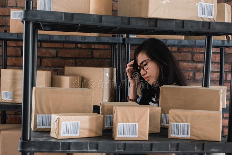 Stress woman while working stock photography