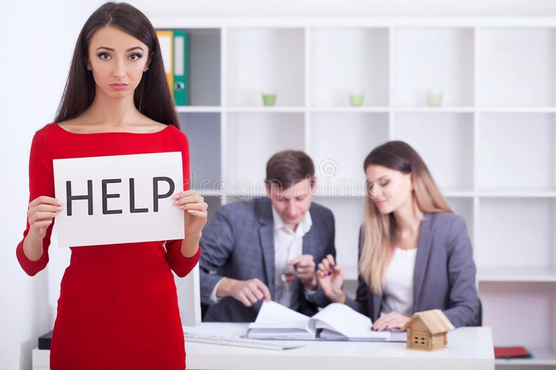 Stress woman in bad financial situation asking for help stock photos